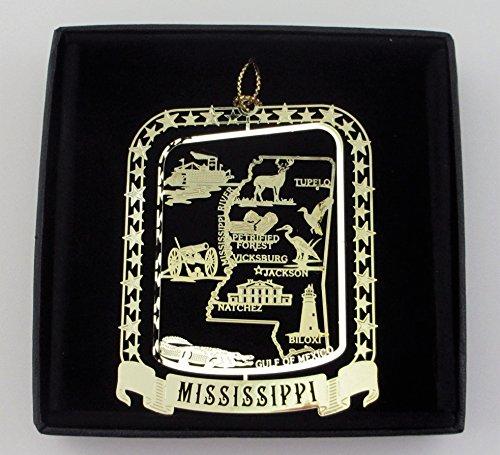 Mississippi State Brass Ornament Black Leatherette Gift Box