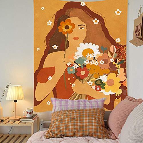 TEDDRA Tapiz para habitación de niñas estilo ilustración mandala macramé hippie tapiz para colgar en la pared, decoración bohemia, tapiz de brujería, 150 x 130_naranja fluorescente