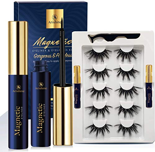 Arishine Mink Lashes Strip Faux Long Dramatic Magnetic Eyelashes with Eyeliner, Soft Wispy 5D Full Magnetic Eyelashes for Women Bold Makeup 5 Pairs (5D 25mm Lashes)