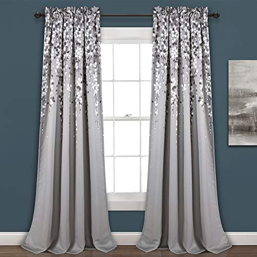"Lush Decor, Gray Weeping Flowers Room Darkening Window Panel Curtain Set (Pair), 95"" x 52, 95"" x 52"""