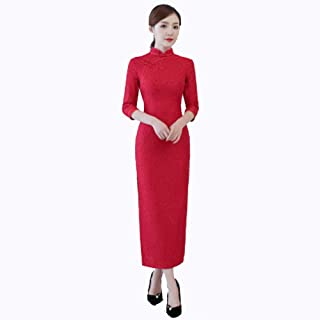 FengZhuo 2019 Autumn and Winter Retro lace Cheongsam