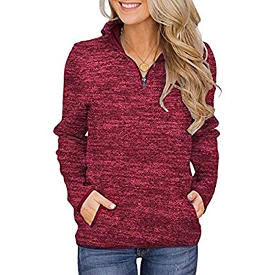 Women's Casual Pullovers Lightweight Fleece Sweatshirts with Pockets
