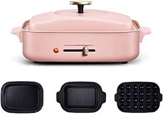 TYUIO Compact Hot Plate + Grill Plate + Ceramic Coat Pot 2/3 Pieces Set (Pale Blue) (Color : Pink, Size : C)