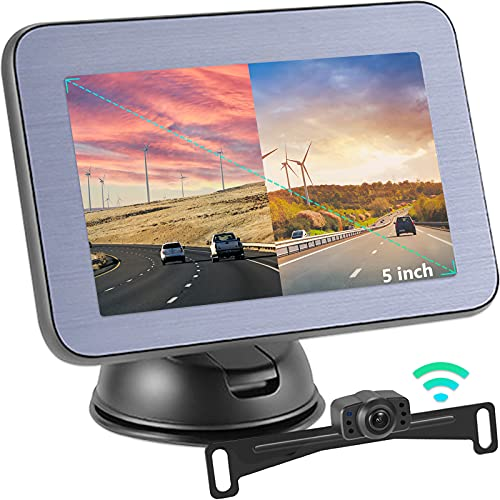 Kit caméra de recul sans Fil Caméra de recul avec Moniteur LCD 5', avec Ligne de recul réglable, Vision Nocturne, kit caméra de recul numérique étanche pour Voitures, camions, Camping-Cars