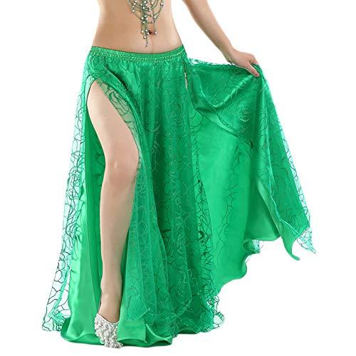 Mujer Traje De Falda De Danza del Vientre De Hendidura Ropa De Rendimiento Verdinegro Un tamaño
