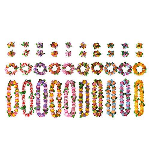 BangShou 40 Pezzi Colorati Ghirlanda Hawaiana Set con 10 Collana/10 Elastiche Cerchietti/20 Elastiche Bracciale per Spiaggia e Feste a Tema Hawaiian Decorazioni