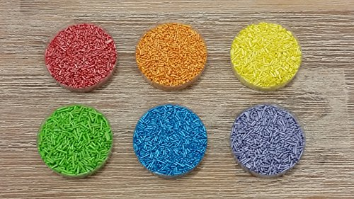 yagma Glimmerzucker Set - Regenbogenmix - 120 g - (rot, orange, gelb, grün, blau, violett) - Dekorzucker, Streuzucker