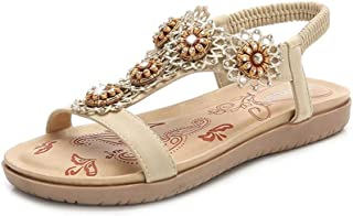 Summer Slippers Women Pu Leather Platform Flat Sole Sandals Lightweight Beach Pool Indoor Outdoor (Color : Apricot, Size : 36)