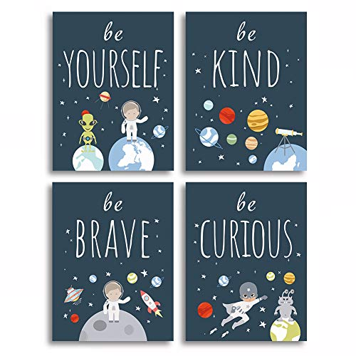 Unframed Inspirational Art Print, Outer Space Planet Wall Art Painting,Set of 4(12' x16' ) Be Kind Be Brave Be Curious Be Yourself Quote Canvas Posters for Boys Bedroom Nursery Decor