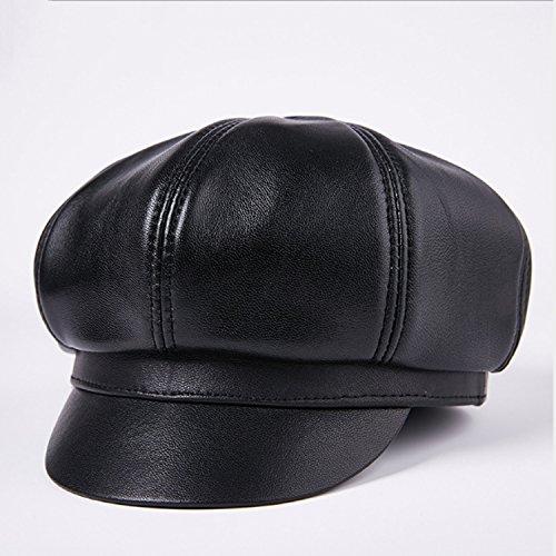 Linqingshiduodeshangmaoyouxiangongsi Hat Cappello Pelle di Pecora Uomo e Donna Cappello Beret Cappellino Invernale coneflower (Color : Black, Size : XXL)