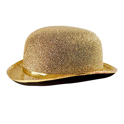 Felt Bowler Gold Lame Bowler Hats Caps & Headwear for Fancy Dress Costumes Accessory