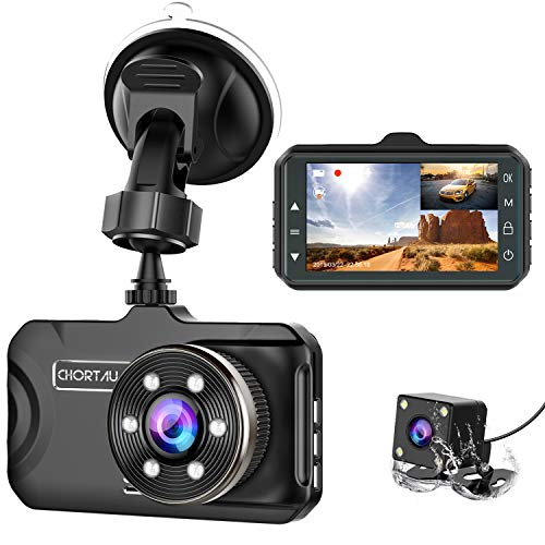 Dash Cam Front and Rear CHORTAU Dual Dash Cam 3 inch Dashboard Camera Full HD 170° Wide Angle...