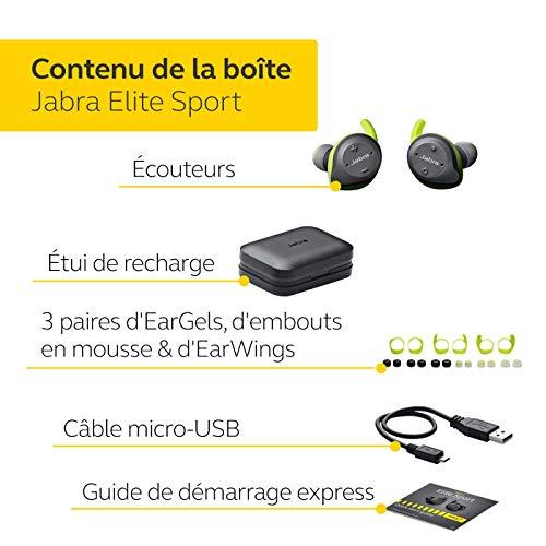 Jabra Écouteurs Elite Sport – Écouteurs sans Fil avec Application de Fitness Intégrée pour les Appels et la Musique – Gris Vert