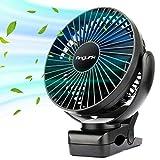 AngLink Mini Ventilatore con Clip, Ventilatore USB da Tavolo e 5000mA Batteria Rotazione di 360°, 3 velocità Potente e Silenzioso per Scrivania, Auto, Casa Ufficio, Viaggiare