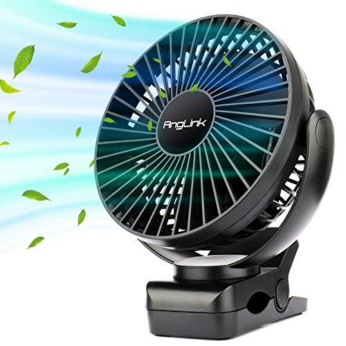 AngLink - Ventilador de mesa portátil con batería recargable y silenciosa, 5000 mA, 3 modos de rotación de 360 grados para cochecito, coche, camping, oficina, color negro