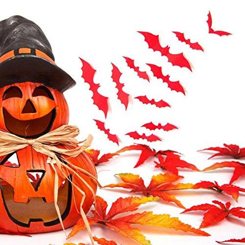 Fasclot 12pcs Black 3D DIY PVC Bat Wall Sticker Decal Home Halloween Decoration Home & Garden Home Decor