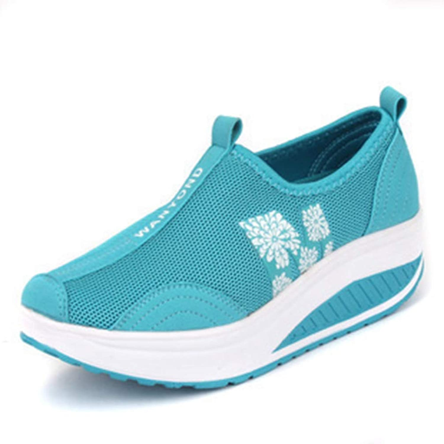 Gcanwea Women Sneakers White Black Platform Womens Casual shoes Ladies Basket Femme Wedges Trainers Zapatillas bluee 5 M US