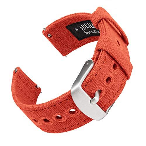 Archer Watch Straps | Correas Reloj Lona de Liberación Rápida para Hombre y Mujer | para Relojes y Smartwatch (Naranja Mandarina, 20mm)