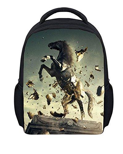 Kleinkind Jungen Mädchen Schultasche Kinderrucksäcke Pferd Skulptur Tier Rucksäcke Gedruckt Backpack Wanderrucksack für Kinder Jugendliche S045 ONE Size