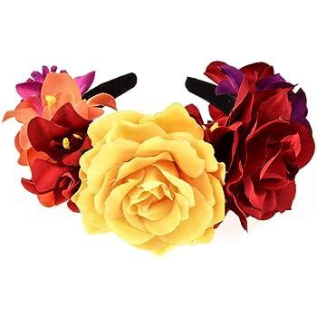 Brownrolly Diadema con Corona de Flores mexicanas de Frida Kahlo ...