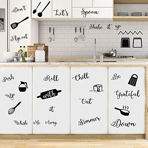 IARTTOP Kitchen Quotes Wall Decal, Roll It Let's Spoon Sticker, Black Cooking Utensils Wall Art for Kitchen Dining Room Fridge Restaurant Decor