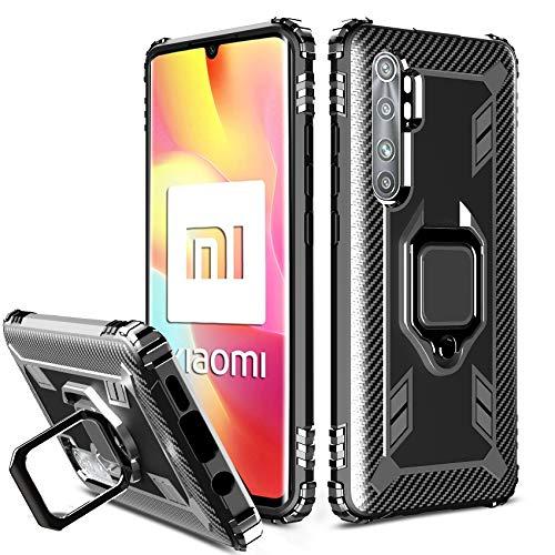 Milomdoi Hülle für Hülle Xiaomi Mi Note 10 Lite, 【Vollständiger Upgrade Schutz】 TPU-Gehäuse mit Ringständer, 【Antikollision】 360°Schützen Sie für Xiaomi Mi Note 10 Lite Hülle-Schwarz