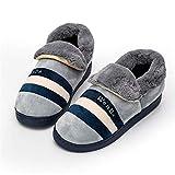 ZHENAO Zapatillas casuales para el hogar, zapatillas de algodón de felpa de fondo grueso Otoño e invierno Inicio Paquete cálido y suave Remolque de algodón para pies Suela antidesli