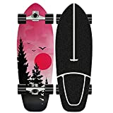 XKAI Carver Surf Skateboard Deck Completo Surfskate Cruiser Pumping Monopatin Longboard Adultos Principiantes 75 * 23CM Fancy Board Wood Maple Niños Adolescentes Skate, CX4 Truck, ABEC-11 Rodamientos