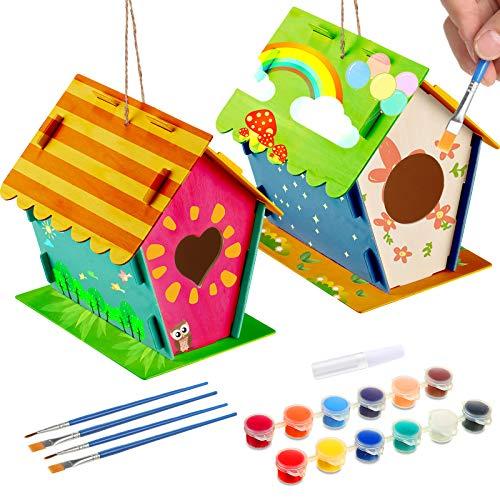 2 Sets DIY Holz Vogelhaus Kits Bauen und Malen Vogelhaus DIY Vogelhaus Kit mit 4 Pinseln und 1 Kleber für Jungen und Mädchen