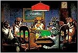 MKAN Póster Vintage De Perros Jugando Al Póker, Cuadro De Arte De Pared En Lienzo, Pintura De Pared, Decoración Artística Impresa En Lienzo-50X70Cm Sin Marco