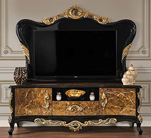Casa Padrino gabinete de TV Barroco de Lujo marrón/Negro/Oro 180 x 50 x A. 190 cm - Magnífico aparador de Madera Maciza - Muebles de salón barrocos