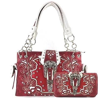 Justin West Embroidery Floral Glittering Bling Rhinestone Buckle Shoulder Concealed Carry Handbag Purse Trifold Wallet (Red Handbag and Wallet)
