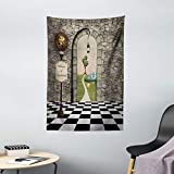Ambesonne Alice in Wonderland Tapestry, Welcome Wonderland Black and White Floor Landscape Mushroom Lantern, Wall Hanging for Bedroom Living Room Dorm Decor, 40' X 60', Black Green