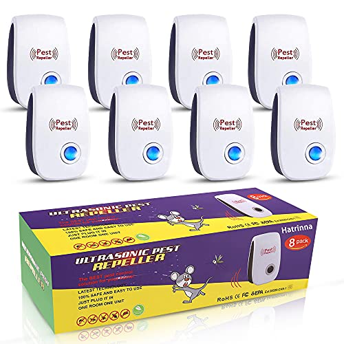Ultrasonic Pest Repeller, 8 Packs Pest Repellent, Indoor Electronic Plug in for Home, Bedroom, Office, Kitchen, Warehouse, Hotel, Safe for Human and Pet