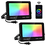 Onforu Smart RGB Flood Lights 240W Equivalent, Color Changing WiFi LED Floodlight, Work with Alexa, 30W APP Control Wall Washer Light Dance with Music, 2700K, 6000K, IP66 Waterproof for Garden Party