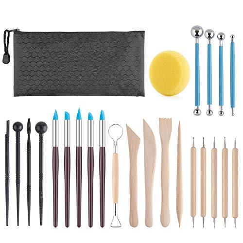 KinQuee 24PCS – Pottery Sculpting Tools, Ceramic Clay Carving Tools for Clay, Pottery, Ceramics and Holiday Crafts