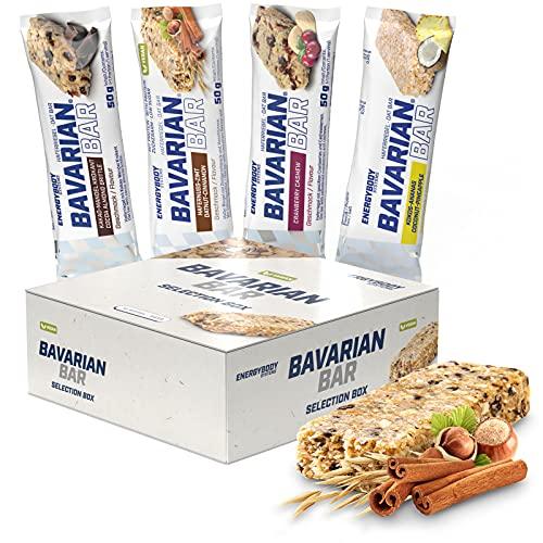 Energybody Bavarian Bar Hafer-Riegel Mix Box 12 x 50 g 4 Sorten Müsliriegel Fitnessriegel vegan Kohlenhydrat-Riegel Ausdauer- und Kraftsport