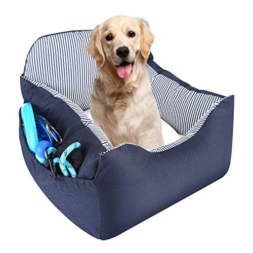 EONJUPET Dog Car Seat Travel Bed with Storage Pocket,Thick Seat Belt,Satisfy to Machine...