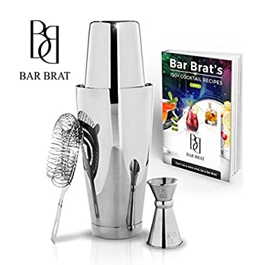 4 Piece Boston Shaker Bar Set by Bar Brat ™/Bonus 130+ Cocktail Recipes (ebook)/Bonus Jigger/Mix Any Drink To Perfection
