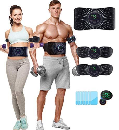 CHENAN Electroestimulador Muscular Abdominales Aparatos para Hacer Ejercicio casa,Abdominales electroestimulacion,USB Recargable EMS Estimulador,Gym en casa,Tóner Muscular Pantalla LCD