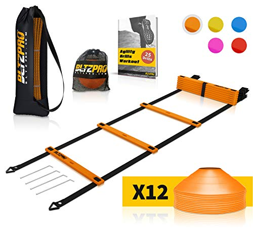 Bltzpro Football and Soccer Training Equipment - Cones & Agility Ladder Speed Practice kit for Kids and Coaches - Conditioning and Footwork Workout Gear - Includes 2 Bags & 24 Agility Drills eBook