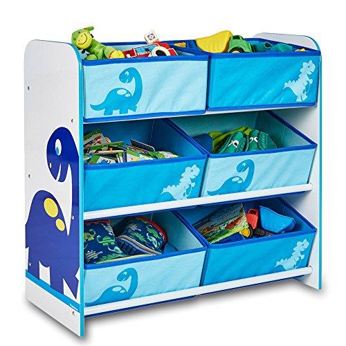 TW24 Aufbewahrungsregal - Spielzeugkiste - Kinderregal - Regal 6 Boxen Mädchen und Jungs mit Motivwahl (Dinosaurier)