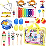 iBaseToy Toddler Musical Instruments 23Pcs 16Types Wooden Percussion Instruments Tambourine Xylophone Toys for Kids Preschool Education, Early Learning Musical Toys Set for Boys Girls with Storage b