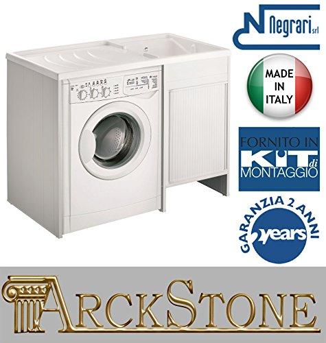 Lavoir lingère Negrari extérieur Roc Kit montage baignoire Housse Machine à Laver DX droite SX Gauche Blanc Meuble lavabo roulants résistant eau acides axe résine plastique PVC l109p60 109x60 H92 cm