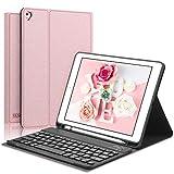 Teclado con Funda para iPad 9.7 Pulgadas Compatible con iPad 2018/2017/Air 2/Air/Pro 9.7, Diseño en Español Teclado Bluetooth Inalámbrico con Auto-Sueño/Estela Cover Case para iPad 9.7,Oro Rosa