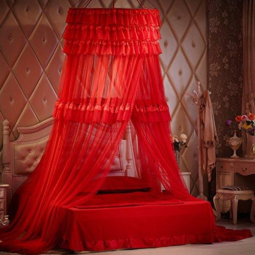 ODIUHEOHF Extra große größe runde Hoop Bett Baldachin Netting moskitonetz passen krippe,Twin,Vollständige,Königin,König-rot 200x200cm(79x79inch)