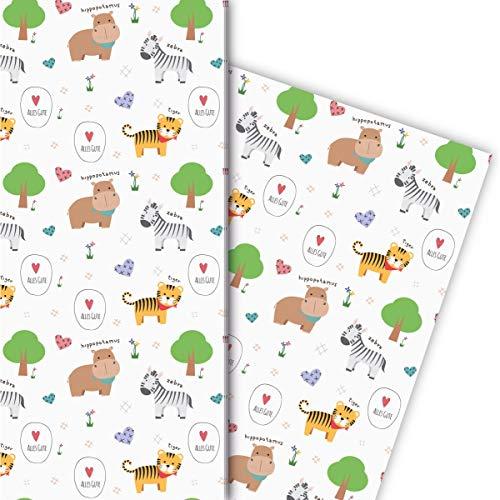 Fröhliches Kinder Geschenkpapier zum Geburtstag mit Zebra, Tiger & Co: Alles Gute - für schöne Geschenkverpackung 32 x 48cm, 4 Bögen zum Einpacken für Geburtstage, Mitgebsel, Dekorpapier, weiß