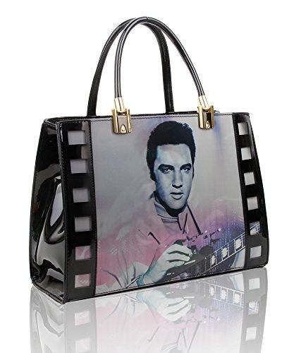 Einkaufstasche/Shopper für Damen, 3D-Effekt, Elvis Presley, Größe 29,5 x 35 x 12 cm Gr. L, schwarz 2