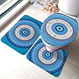 FDGJNB Turkish Evil Eye Mandala Greek Bathroom Rug Mat Bath Accessories Set 3 Piece,Non-Slip Bath Mat Pedestal Rug+U Shaped Contour Mat+Lid Toilet Cover Pad