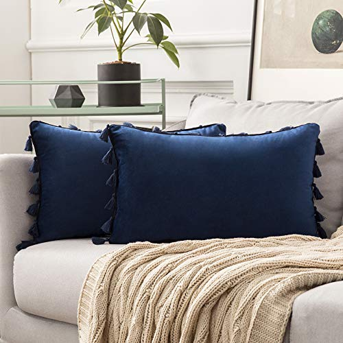 MIULEE Velvet Tasseled Cushion Covers Bohemian Indian Embroidered Decorative Square Throw Pillow Case Pillowcases for Couch Livingroom Sofa Bed with Invisible Zipper 12x20 inch 30x50cm 2Pieces Navy
